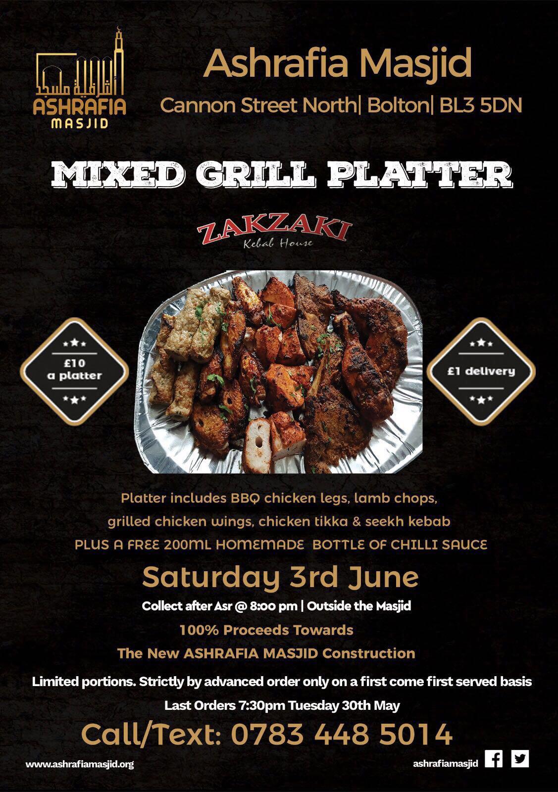 Mixed Grill Platter Fundraiser Ashrafia Masjid Ramadhan 2017